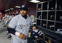 Aug 21, 2007; Phoenix, AZ, USA; Milwaukee Brewers first baseman (23) Prince Fielder in the dugout during the game against the Arizona Diamondbacks at Chase Field. Mandatory Credit: Mark J. Rebilas-US PRESSWIRE Copyright © 2007 Mark J. Rebilas
