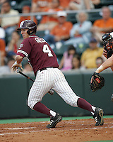 Texas A&M LF Brodie Greene bunts against Texas on May 16th, 2008 in Austin Texas. Photo by Andrew Woolley / Four Seam images.