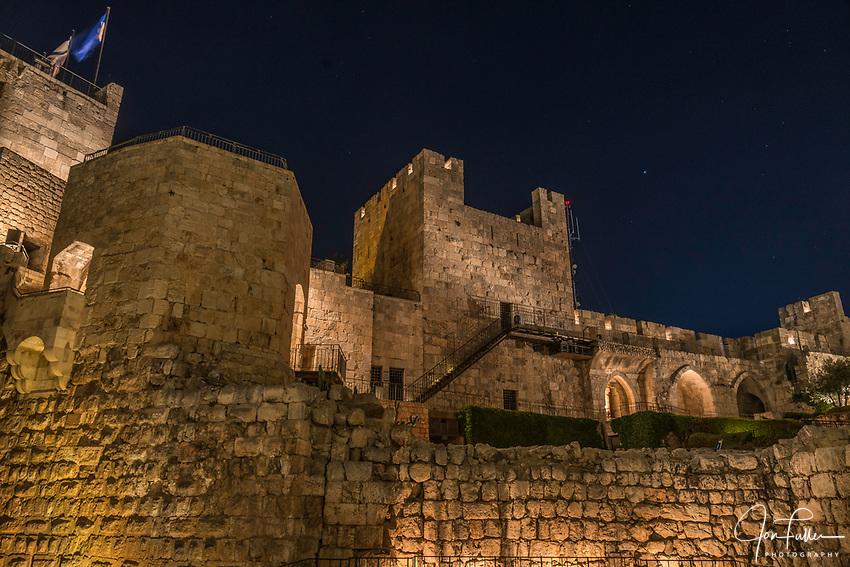 Hasmonean Wall in the Citadel or Tower of David in the Armenian Quarter of the Old City of Jerusalem.   The Old City of Jerusalem and its Walls is a UNESCO World Heritage Site