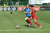 Kansas City, MO - Saturday May 13, 2017:  Becky Sauerbrunn defends Nadia Nadim during a regular season National Women's Soccer League (NWSL) match between FC Kansas City and the Portland Thorns FC at Children's Mercy Victory Field.