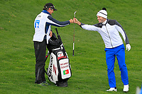 Ricardo Gouveia (POR) gets a fist pump from his caddy after getting a &quot;Birdie&quot; on the 3rd during Round 1 of the Open de Espana 2018 at Centro Nacional de Golf on Thursday 12th April 2018.<br /> Picture:  Thos Caffrey / www.golffile.ie<br /> <br /> All photo usage must carry mandatory copyright credit (&copy; Golffile | Thos Caffrey)