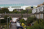 Easter Road stadium, pictured from London Road before the Scottish Championship match between Hibernian and visitors Alloa Athletic. The home team won the game by 3-0, watched by a crowd of 7,774. It was the Edinburgh club's second season in the second tier of Scottish football following their relegation from the Premiership in 2013-14.