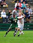 13 September 2009: University of Vermont Catamount midfielder Dwayne Dove (9), a Freshman from Turnersville, NJ, battles University of Massachusetts Minutemen defenseman David Key (3), a Sophomore from Parker, CO, during the second round of the 2009 Morgan Stanley Smith Barney Soccer Classic held at Centennial Field in Burlington, Vermont. The Catamounts and Minutemen battled to a 1-1 double-overtime tie. Mandatory Photo Credit: Ed Wolfstein Photo