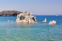 White rock formations near Mavrospilia in Kimolos, Greece