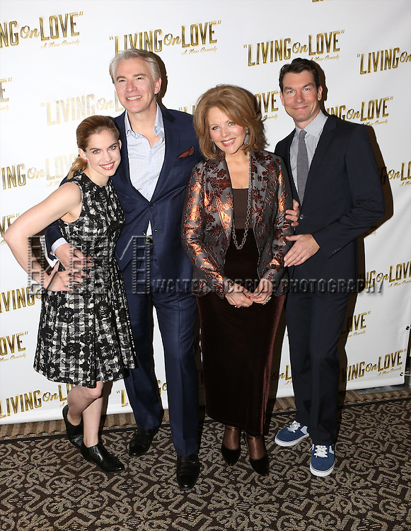 Anna Chlumsky, Douglas Sills, Renee Fleming and Jerry O'Connell  attend the 'Living on Love' photo call at the Empire Hotel on March 12, 2015 in New York City.