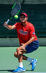 SURPRISE, AZ - MAY 12: Kiranpal Pannu of the Columbus State Cougars returns a ball against Pierre Montrieul of the Barry Buccaneers during the Division II Men's Tennis Championship held at the Surprise Tennis & Racquet Club on May 12, 2018 in Surprise, Arizona. (Photo by Jack Dempsey/NCAA Photos via Getty Images)