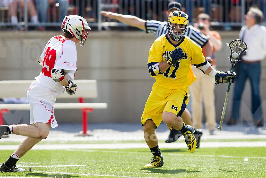 The University of Michigan men's lacrosse team loses to Ohio State, 15-6, in Columbus, Ohio on April 12, 2014.