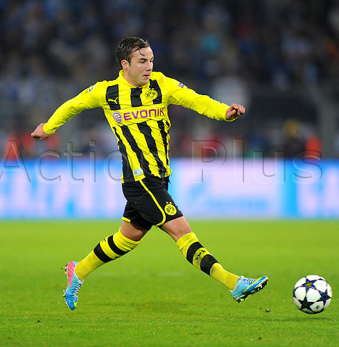 09.04.2013 Dortmund, Germany. Dortmund's Mario Goetze plays the ball during the UEFA Champions League quarter final second leg soccer match between Borussia Dortmund and Malaga.