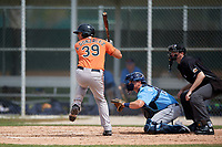 Baltimore Orioles Alfredo Gonzalez (39) bats during a Minor League Spring Training game against the Tampa Bay Rays on March 16, 2019 at the Buck O'Neil Baseball Complex in Sarasota, Florida.  (Mike Janes/Four Seam Images)