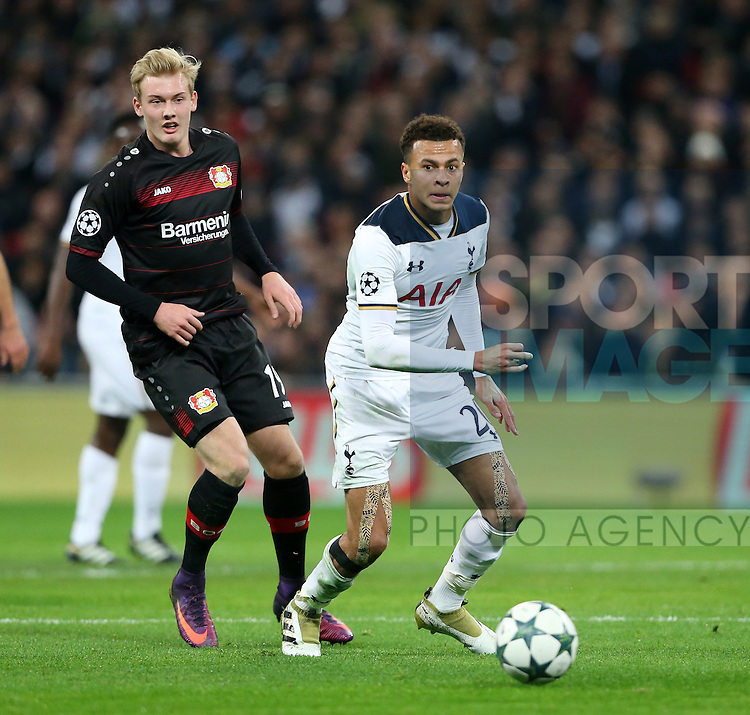 Tottenham's Dele Alli tussles with Leverksen's Julian Brandt during the Champions League group E match at the Wembley Stadium, London. Picture date November 2nd, 2016 Pic David Klein/Sportimage