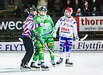 Stockholm 2015-01-16 Bandy Elitserien Hammarby IF - IFK Kung&auml;lv :  <br /> domare Alexander Korobkov &aring;ker bort med Hammarbys Kasper Milerud efter ett br&aring;k med Kung&auml;lvs Hampus K&auml;rnman under matchen mellan Hammarby IF och IFK Kung&auml;lv  <br /> (Foto: Kenta J&ouml;nsson) Nyckelord:  Elitserien Bandy Zinkensdamms IP Zinkensdamm Zinken Hammarby Bajen HIF IFK Kung&auml;lv slagsm&aring;l br&aring;k fight fajt gruff domare referee ref