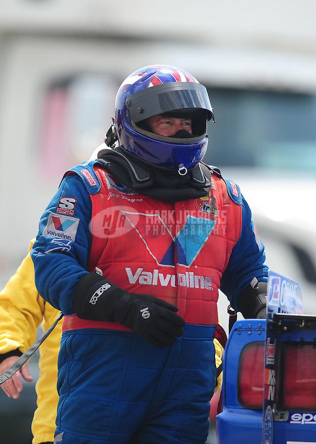 Apr. 28, 2012; Baytown, TX, USA: NHRA top alcohol funny car driver Jay Payne during qualifying for the Spring Nationals at Royal Purple Raceway. Mandatory Credit: Mark J. Rebilas-