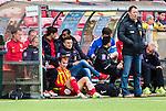 S&ouml;dert&auml;lje 2014-05-31 Fotboll Superettan Syrianska FC - &Auml;ngelholms FF :  <br /> Syrianskas Louay Chanko ser p&aring; matchen vid avbytarb&auml;nken efter att ha skadat sig under den f&ouml;rsta halvlek<br /> (Foto: Kenta J&ouml;nsson) Nyckelord:  Syrianska SFC S&ouml;dert&auml;lje Fotbollsarena &Auml;ngelholm &Auml;FF skada skadan ont sm&auml;rta injury pain depp besviken besvikelse sorg ledsen deppig nedst&auml;md uppgiven sad disappointment disappointed dejected