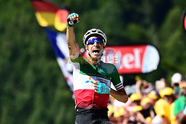 Fabio Aru (ITA) Astana wins on La Planche des Belles Filles at the end of Stage 5 of the 104th edition of the Tour de France 2017, running 160.5km from Vittel to La Planche des Belles Filles, France. 5th July 2017.<br /> Picture: ASO/Alex Broadway | Cyclefile<br /> <br /> <br /> All photos usage must carry mandatory copyright credit (&copy; Cyclefile | ASO/Alex Broadway)