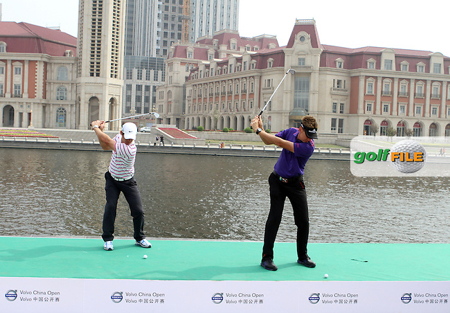 Paul Casey (ENG) and Ian Poulter (ENG) at the 2012 Volvo China Open Opening Ceremony held at the Semicirle Warf, Tianjin, China...(Photo Jenny Matthews/www.golffile.ie)
