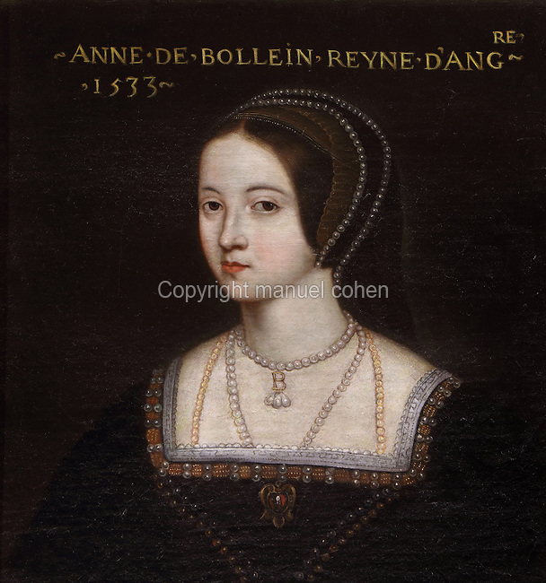Portrait of Anne Boleyn, 1501-36, Queen of England and second wife of Henry VIII, in 1533, in the Galerie des Illustres or Gallery of Portraits, early 17th century, in the Chateau de Beauregard, a Renaissance chateau in the Loire Valley, built c. 1545 under Jean du Thiers and further developed after 1617 by Paul Ardier, Comptroller of Wars and Treasurer, in Cellettes, Loir-et-Cher, Centre, France. The Gallery of Portraits is a 26m long room with lapis lazuli ceiling, Delftware tiled floor and decorated with 327 portraits of important European figures living 1328-1643, in the times of Henri III, Henri IV and Louis XIII. The chateau is listed as a historic monument. Picture by Manuel Cohen