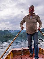 Pletna boat ride, Lake Bled, Gorenjska, Slovenia, Europe