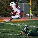 SPEARFISH, SD - OCTOBER 26, 2013:  DaVaughn Thornton #33 of Colorado State - Pueblo gets tripped up by Black Hills State defender Brian Baldwin #23 during their Rocky Mountain Athletic Conference game Saturday at Lyle Hare Stadium in Spearfish, S.D. CSU-Pueblo won 51-17. (Photo by Dick Carlson/Inertia)