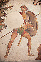 6th century Byzantine Roman mosaics of a hunter from the peristyle of the Great Palace from the reign of Emperor Justinian I. Istanbul, Turkey.