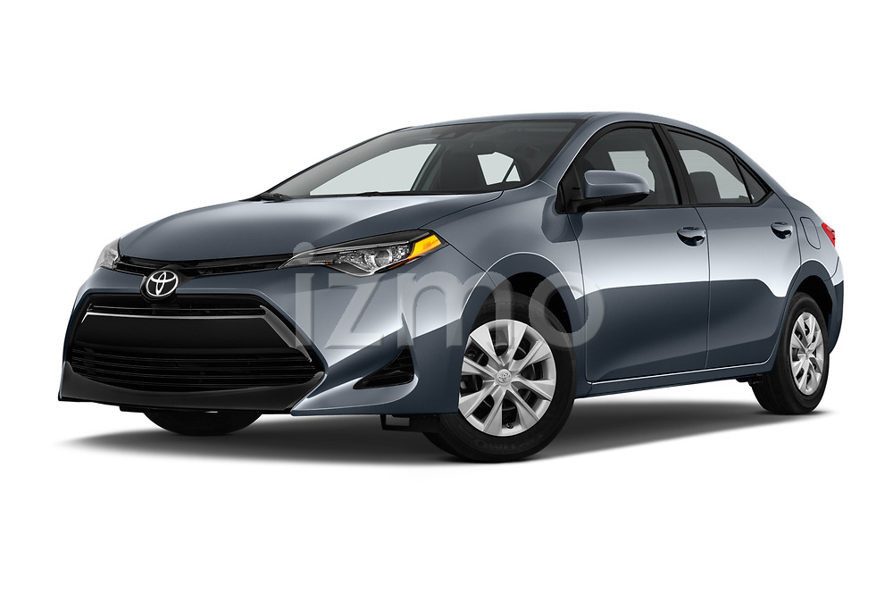 Stock pictures of low aggressive front three quarter view of a 2017 Toyota Corolla L 4 Door Sedan