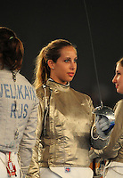 Aug. 9, 2008; Beijing, CHINA; Mariel Zagunis (USA) during the womens fencing individual sabre semi final at the Fencing Hall in the 2008 Beijing Olympic Games. Mandatory Credit: Mark J. Rebilas-