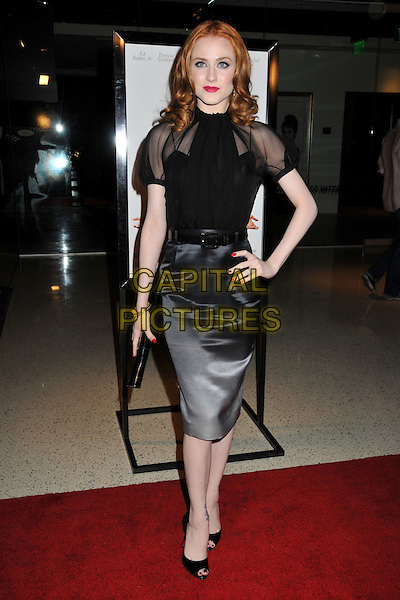 "EVAN RACHEL WOOD.""Whatever Works"" Los Angeles Premiere held at the Pacific Design Center, West Hollywood, CA, USA..June 8th, 2009.full length black sheer top grey gray silk satin skirt white faced dip dye peep toe shoes hand on hip clutch bag nail varnish polish .CAP/ADM/BP.©Byron Purvis/AdMedia/Capital Pictures."