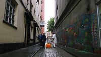 Pictured: Graffitis on the side wall of The Volcano Theatre, High Street, Swansea. Saturday 15 July 2017<br /> Re: The Troublemakers Festival, on the High Street, Swansea, south Wales, UK.