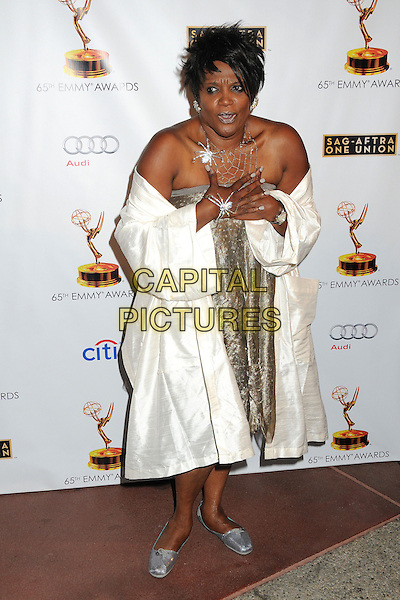 Anna Maria Horsford<br /> Academy of Television Arts &amp; Sciences' Dynamic and Diverse 2013 Emmy Nominee Reception, North Hollywood, California, USA.<br /> September 17th, 2013<br /> full length silver strapless dress white off the shoulder jacket coat hands arms<br /> CAP/ADM/BP<br /> &copy;Byron Purvis/AdMedia/Capital Pictures