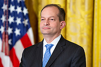 Labor Secretary Alexander Acosta looks on during the National Teacher of The Year ceremony in the East Room of the White House in Washington, DC n May 2, 2018. Credit: Alex Edelman / CNP /MediaPunch
