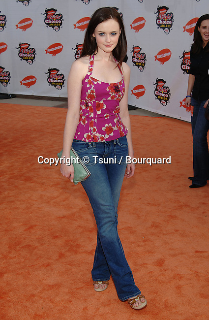 Alexis Bledel arriving at the 18th Nickelodeon Awards Annual Kids Choice at the Pauley Pavillon at UCLA in Los Angeles. April 2, 2005.