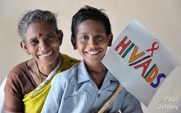 Sivamma is the grandmother of 12-year old Amarnadh, an orphan who is HIV positive. They are members of the Hope Arpana Positive People Effective Network in Guntur, Andhra Pradesh, India. (See Special Instructions below.)