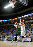 SIOUX FALLS, SD - MARCH 8:  Ian Theisen #42 from South Dakota State spots up for a jumper over Dexter Werner #40 from North Dakota State during the 2016 Summit League Championship Game Tuesday at the Denny Sanford Premier Center in Sioux Falls, S.D. (Photo by Dave Eggen/Inertia)