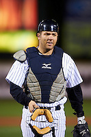 Empire State Yankees catcher Austin Romine #24 during game four of a best of five playoff series against the Pawtucket Red Sox at Frontier Field on September 8, 2012 in Rochester, New York.  Pawtucket defeated Empire State 7-1 to advance to the International League Finals.  (Mike Janes/Four Seam Images)