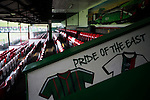 A view of the family area of the main stand, reserved for home supporters at The Oval, Belfast, pictured before Glentoran hosted city-rivals Cliftonville in an NIFL Premiership match. Glentoran, formed in 1892, have been based at The Oval since their formation and are historically one of Northern Ireland's 'big two' football clubs. They had an unprecendentally bad start to the 2016-17 league campaign, but came from behind to win this fixture 2-1, watched by a crowd of 1872.