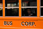 Children are transported after class by a school bus in New York. 01/15/2013. .Drivers of yellow school buses in New York are planning to go on strike tomorrow Wednesday, leaving more than150,000 children looking for a new way to get to school. Photo by Eduardo Munoz Alvarez / VIEW.