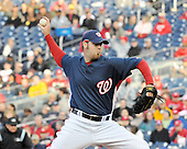 Washington, D.C. - March 29, 2008 -- Washington Nationals pitcher Jason Bergmann (57) throws in first inning action against the Baltimore Orioles visit Nationals Park in Washington, D.C. on Saturday, March 29, 2008.   Bergmann pitched 5 innings allowing no runs on one hit.  He struck out 3 and walked 4.  The Nationals won the game 3 - 0..Credit: Ron Sachs / CNP