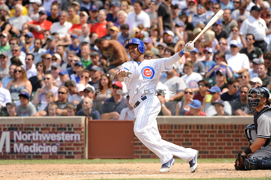 STARLIN CASTRO, of the Chicago Cubs in action during the Cubs game against the New York Yankees on June 17, 2011 at Wrigley Field in Chicago, Illinois. The Cubs beat the Yankees 3-1.