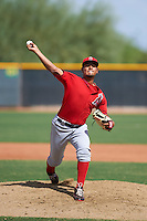 Los Angeles Angels pitcher Jaime Barria (56) during an instructional league game against the Texas Rangers on October 5, 2015 at the Surprise Stadium Training Complex in Surprise, Arizona.  (Mike Janes/Four Seam Images)