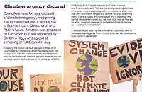 BNPS.co.uk (01202 558833)<br /> Pic: BCPCouncil/BNPS<br /> <br /> The Climate emergency article in the magazine<br /> <br /> A council that recently declared a 'climate emergency' has been left red-faced after thousands of copies of their own magazine were found dumped at a waste facility.<br /> <br /> The quarterly magazine is meant to have been delivered to over 180,000 households in the Bournemouth, Christchurch and Poole area of Dorset.<br /> <br /> The most recent edition carries an article headlined 'Value Your Waste' that tells residents 'it's time we all did more to stop wasting our waste.'<br /> <br /> Another article in BCP News states how the local authority has pledged go 'carbon neutral by 2030' by announcing a climate emergency.<br /> <br /> The council, that prints the magazines in Blackpool, Lancs, from where they are driven 300 miles to the south coast, also recently announced it to hire a 'Zero Carbon Support Officer' on a salary of £35,000 a year.
