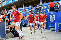 FRISCO, TX - MARCH 11: Spain's players enter the pitch for warm ups during a game between England and Spain at Toyota Stadium on March 11, 2020 in Frisco, Texas.