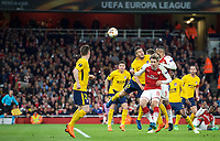 Alexandre Lacazette of Arsenal heads towards goal under pressure from Koke of Atletico Madrid during the UEFA Europa League Semi Final 1st leg match between Arsenal and Atletico Madrid at the Emirates Stadium, London, England on 26 April 2018. Photo by Andy Aleksiejczuk / PRiME Media Images
