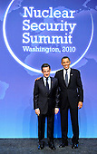 United States President Barack Obama welcomes President Nicolas Sarkozy of France to  the Nuclear Security Summit at the Washington Convention Center, Monday, April 12, 2010 in Washington, DC. .Credit: Ron Sachs / Pool via CNP