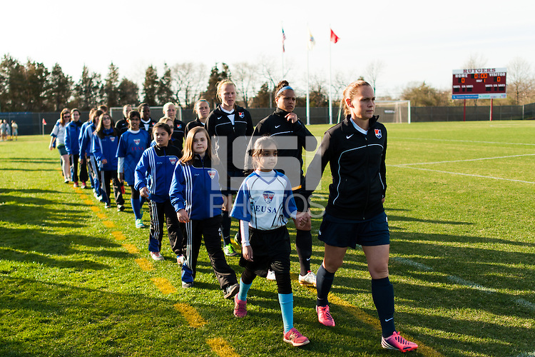 Sky Blue FC defender Christie Rampone (3) leads the team onto the field. Sky Blue FC defeated the Western New York Flash 1-0 during a National Women's Soccer League (NWSL) match at Yurcak Field in Piscataway, NJ, on April 14, 2013.
