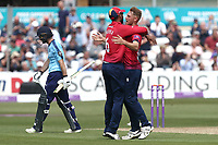 Jamie Porter of Essex celebrates taking the wicket of Adam Lyth during Essex Eagles vs Yorkshire Vikings, Royal London One-Day Cup Play-Off Cricket at The Cloudfm County Ground on 14th June 2018