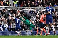 Everton's Jordan Pickford sees Chelsea's Pedro shot on goal<br /> <br /> Photographer Stephanie Meek/CameraSport<br /> <br /> The Premier League - Chelsea v Everton - Sunday 8th March 2020 - Stamford Bridge - London<br /> <br /> World Copyright © 2020 CameraSport. All rights reserved. 43 Linden Ave. Countesthorpe. Leicester. England. LE8 5PG - Tel: +44 (0) 116 277 4147 - admin@camerasport.com - www.camerasport.com