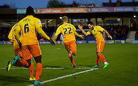 Jason McCarthy of Wycombe Wanderers celebrates after scoring with Sam Wood of Wycombe Wanderers during the Sky Bet League 2 match between AFC Wimbledon and Wycombe Wanderers at the Cherry Red Records Stadium, Kingston, England on 21 November 2015. Photo by Alan  Stanford/PRiME.