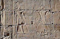 Hieroglyphs on wall, Temple of Karnak located at modern day Luxor or ancient Thebes, Egypt