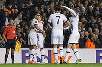 Erik Lamela of Tottenham Hotspur celebrates his second goal during the UEFA Europa League group match between Tottenham Hotspur and Monaco at White Hart Lane, London, England on 10 December 2015. Photo by Andy Rowland.