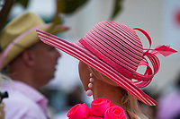 LOUISVILLE, KY - MAY 04: A woman wears a fancy pink hat on Kentucky Oaks Day at Churchill Downs on May 4, 2018 in Louisville, Kentucky. (Photo by Scott Serio/Eclipse Sportswire/Getty Images)