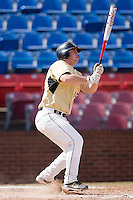 Mike Murray #15 of the Wake Forest Demon Deacons follows through on a home run against the Xavier Musketeers at Wake Forest Baseball Park March 7, 2010, in Winston-Salem, North Carolina.  Photo by Brian Westerholt / Four Seam Images